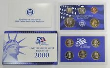 2000-S Proof Set Dollar Half State Quarters Nickel Cent US Mint 10 Coins w/Box