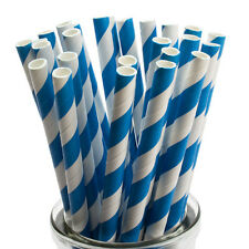 Blue Striped Paper Straws x 25 Retro Drinking Cocktail Party Barbecue
