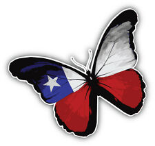 Chile Flag Butterfly Car Bumper Sticker Decal 5'' x 5''