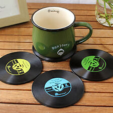4Pcs Vintage Vinyl Record Music CD Player Coasters Groovy Table Bar Drinks Mats