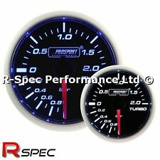 Prosport 52mm Super Blue / White Turbo Boost Gauge - BAR - Stepper Motor Version