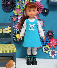 """Fits 13"""" Les Cheries Corolle Doll .. Teal Blue Jumper with White Bunny ... D839"""