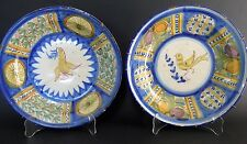 Old Spanish Faience Ceramic Plates with Bird Motif