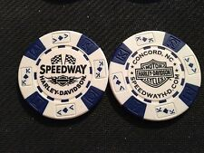 """Harley Davidson Poker Chip (White & Blue) """"Speedway"""" Concord NC HOME OF NASCAR"""