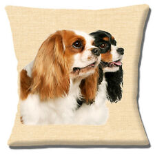 "NEW COUPLE CAVALIER KING CHARLES SPANIELS PHOTO PRINT 16"" Pillow Cushion Cover"