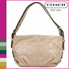 """Coach Perforated Leather Duffle Handbag 19257 Purse Color Silver/Putty 12"""" H NWT"""