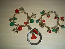 Lot of Vintage Chunky Christmas Charm Bracelets and Pin - Bells, Trees, Holly