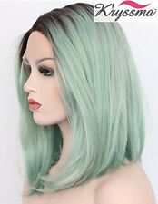K'ryssma Short Bob Wigs Ombre Light Green Straight Wigs Brown Roots Synthetic