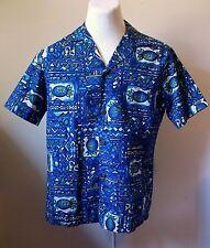 """Men's Vintage Hawaiian Shirt Royal Hawaiian Large 43"""" Asian coin buttons EUC"""