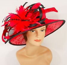 New Woman Church Derby Wedding Sinamay Ascot Dress Hat 3065 Black / Red