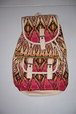 "CLAIRE'S EMBROIDED CANVAS AZTEC BACKBACK WOMEN'S GIRL'S 15"" BOOKBAG  NWT!"