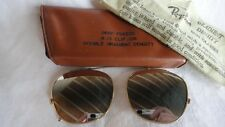 VINTAGE RAY BAN DEEP FREEZE 1955 CLIP ON 48MM B&L DOUBLE MIRROR GOLD CASE