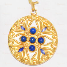Estate Hand-Made 18k Yellow Gold Lapis Lazuli Enamel Pendant