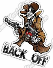 "Offensive Skeleton Gun Texas Back Off Car Bumper Vinyl Sticker Decal 4.5""X6"""