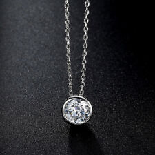 16 Inches Length Chain Round CZ Pendant 925 Sterling Silver Necklace