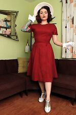 1950s 50s Red Linen Dress With Button Detail Vintage