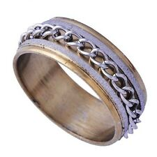 Hot Men's Yellow/White Gold Filled Band Iron Chain mystic Band Ring Size 10