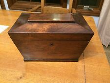 Antique Wooden English Tea Caddy Velvet Ruffles