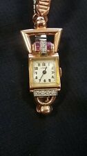 LYCEUM LUXURY 14K ROSE GOLD w/ GARNETS & DIAMOND LADIES WATCH