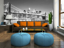 NEW YORK CITY BROOKLYN BRIDGE at NIGHT Photo Wallpaper Wall Mural BLACK & WHITE