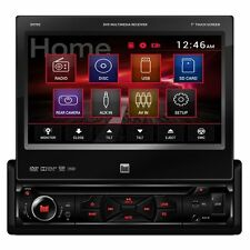 "Dual DV705 7"" Single-DIN In-Dash Touch Screen DVD Car Stereo Receiver, Bran"