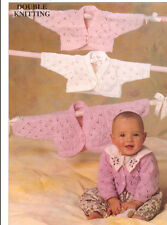 BABY knitting pattern   lacy bolero cardigans 16/24 in chest double knit