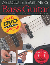 Absolute Beginners Learn to Play Bass Guitar EASY Music Lesson Book CD & DVD