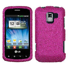 For LG Optimus Zip L75C Crystal Diamond BLING Case Phone Cover Hot Pink