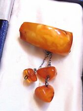 Antique Real Baltic Amber Jewellery Piece On Russian Marked Silver