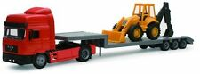 Camion Man F2000 Lowboy Truck W/ Backhoe Loader 1:43 Model 15393 NEW RAY