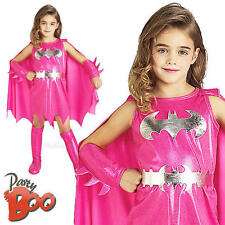 Pink Batgirl Ages 3-4 Fancy Dress Girls Superhero Batman Child Kids Costume New