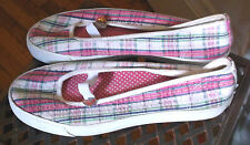 "Ladies ROXY ""Radcliff"" Pink Plaid Slip On Mary Jan. Shoes Size 9"
