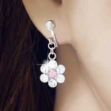#E125C Pair non-piercing CLIP ON EARRINGS Dangle Crystal Flower Drop Women New