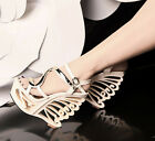 sexy womens peep toe S ankle strappy sandals fashion high heel wedge shoes size