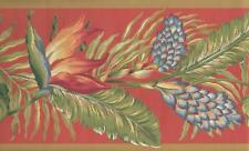 Wallpaper Border Bird of Paradise and Palm Leaves on Coral