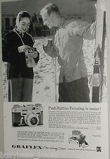 1958 Graflex ad, Graphic 35, push button focus