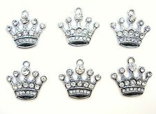 10 Princess Crown Crystal Rhinestone Silver Plated Charm/Bracelet/Bead/jewel K2