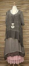 LAGENLOOK*KEKOO*OVERSIZE LAYERING QUIRKY 2 PCS DRESS+OVERTOP***BROWN***Size L-XL