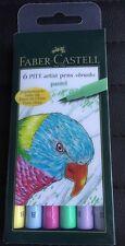 Faber Castell 6 Pitt Artist Pens Brush Pastel New/Sealed