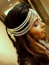 Indian Handmade Pearl and Stone Side Headpiece Jewelry Matha Patti for Weddings