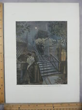 Rare Antique Orig VTG Garden Moulin de la Galette G Redon Illustration Art Print