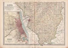 1903 BRITANNICA ANTIQUE MAP USA ILLINOIS SOUTHERN PART CHICAGO AND VICINITY