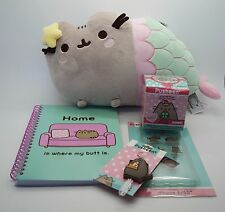 PUSHEEN Gund Gift Set LOT Mermaid Plush Phone Case Notepad Key Cover NEW