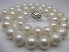 "20"" Inch Genuine Huge 10-11mm White Pearl Strand Necklace Cultured Freshwater"