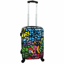 "Chariot 20"" Lightweight Spinner Carry-On Upright Suitcase - Stained Glass Cat"