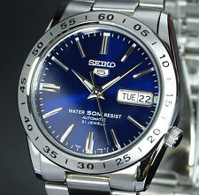 Mens SEIKO 5 BLUE SHEEN DAY DATE AUTO STAINLESS STEEL BRACELET SNKD99K1