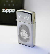 Zippo Lighter SLIM High Polished Personalised Photo Engraved Free Christmas Gift