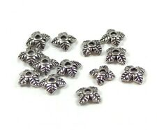 50 Small Leaf Bead Caps Antique Silver Tone 5mm Jewellery Findings J00468
