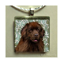 BROWN NEWFOUNDLAND DOG CHARM JEWELRY ART PET GIFT GLASS TILE PENDANT NECKLACE