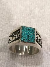RARE GEM GRADE KINGMAN SPIDERWEB TURQUOISE STERLING SILVER OVERLAY RING. SIGNED